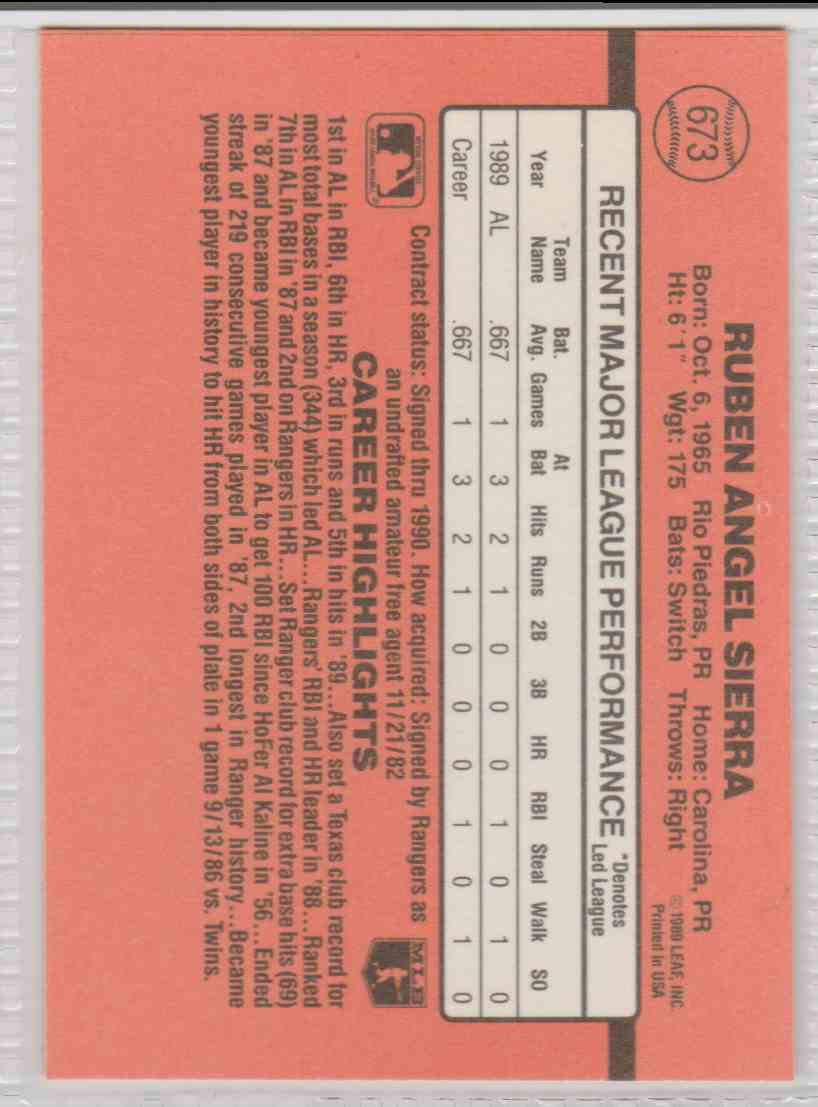 1990 Donruss Ruben Sierra #673 card back image