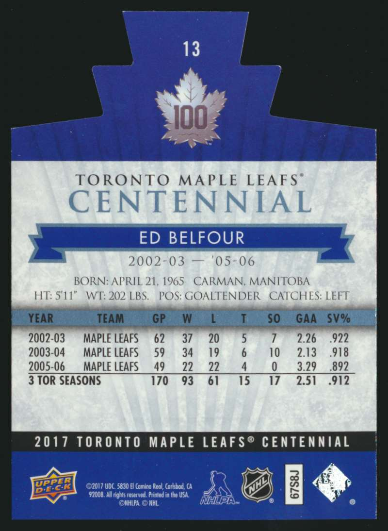2017-18 UD Maple Leafs Centennial Die Cut Ed Belfour #13 card back image