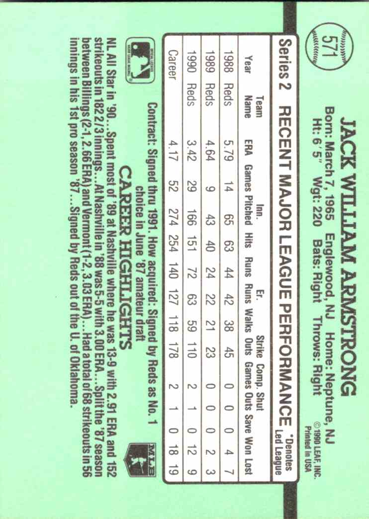 1991 Leaf Donruss Jack Armstrong #571 card back image