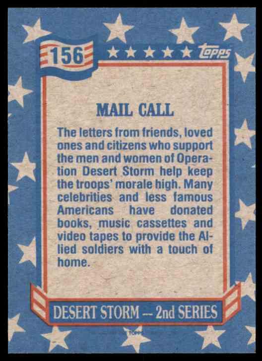 1991 Desert Storm Topps Mail Call #156 card back image