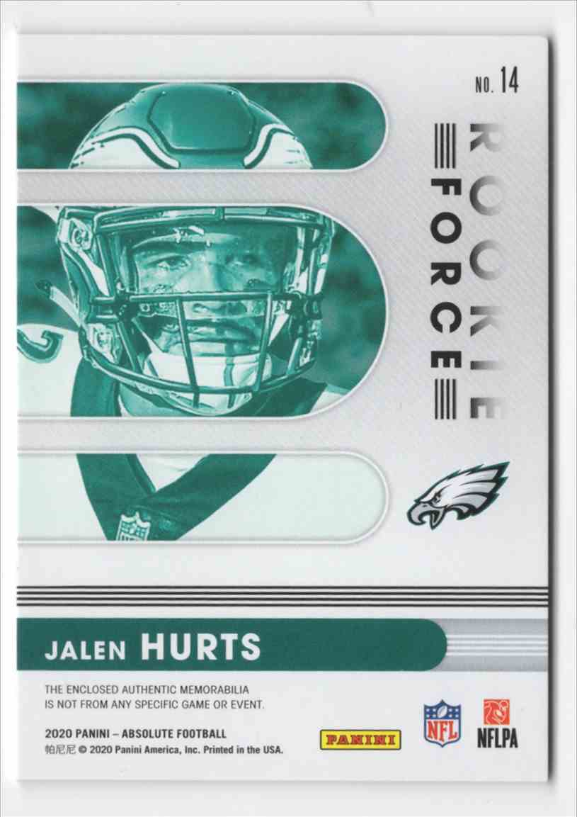 2020 Absolute Rookie Force Jerseys Jalen Hurts #14 card back image