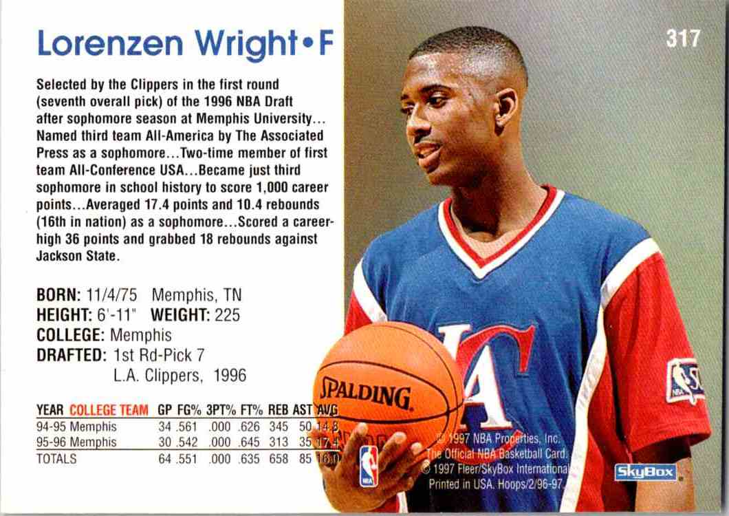 1997-98 NBA Hoops Lorenzen Wright #317 card back image