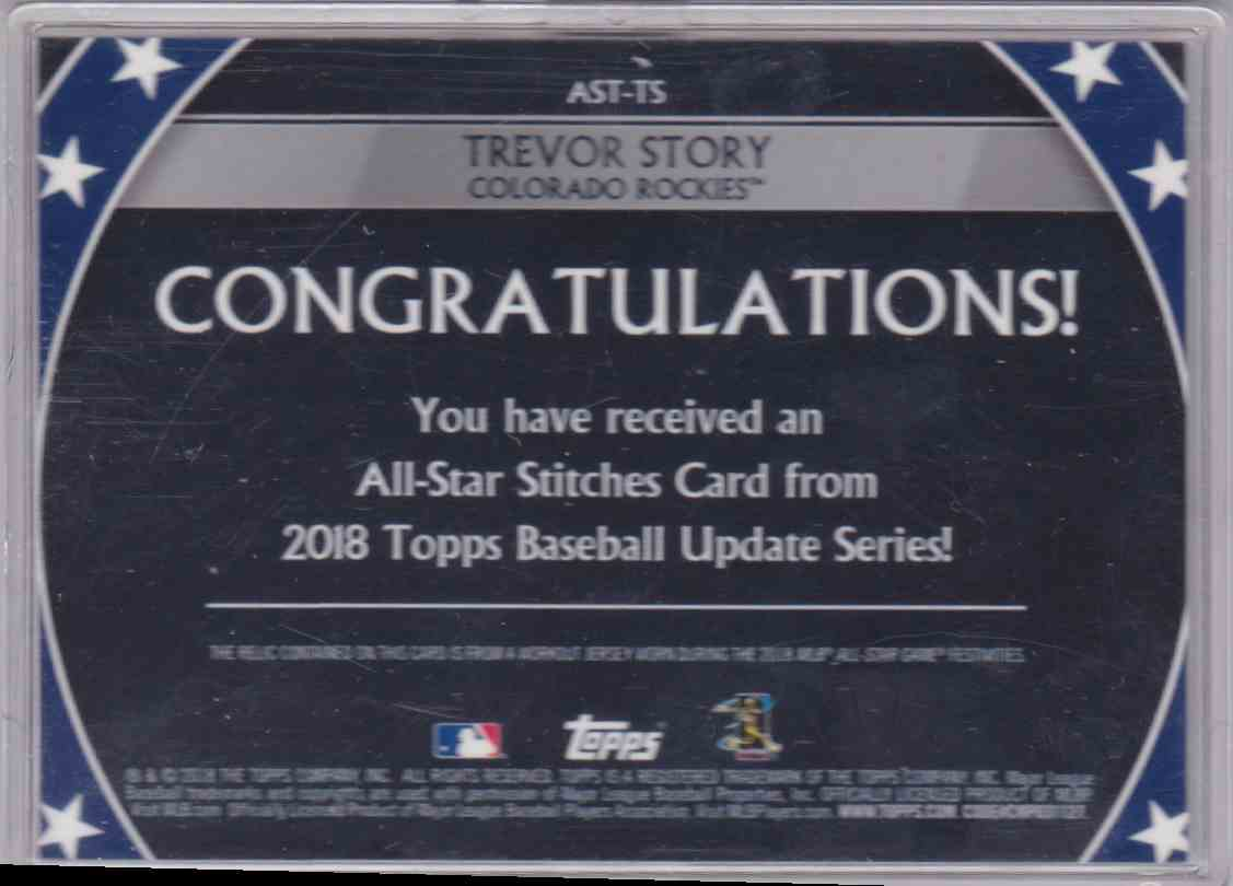 2018 Topps Update Series All-Star Stitches Trevor Story #AST-TS card back image