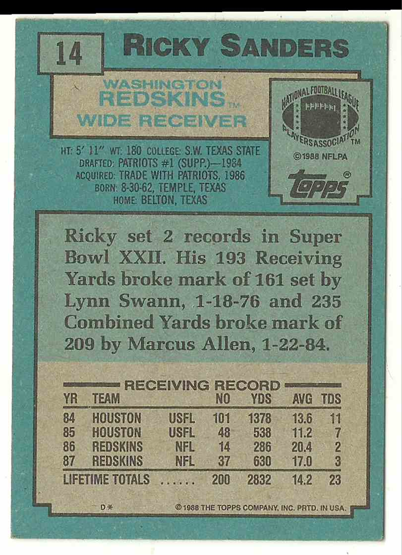 1988 Topps Ricky Sanders #14 card back image