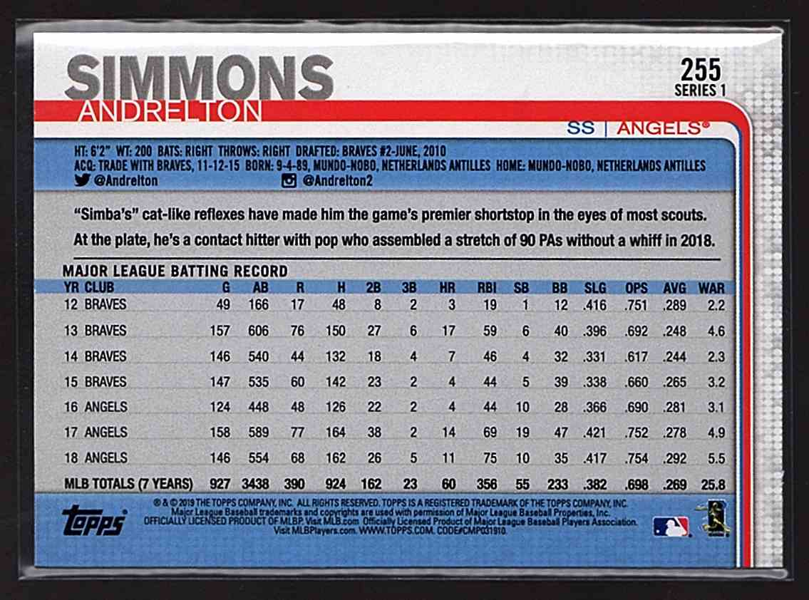 2019 Topps Rainbow Foil Andrelton Simmons #255 card back image