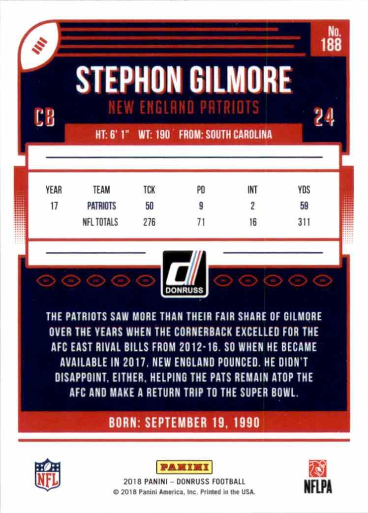 2018 Donruss Stephon Gilmore #188 card back image