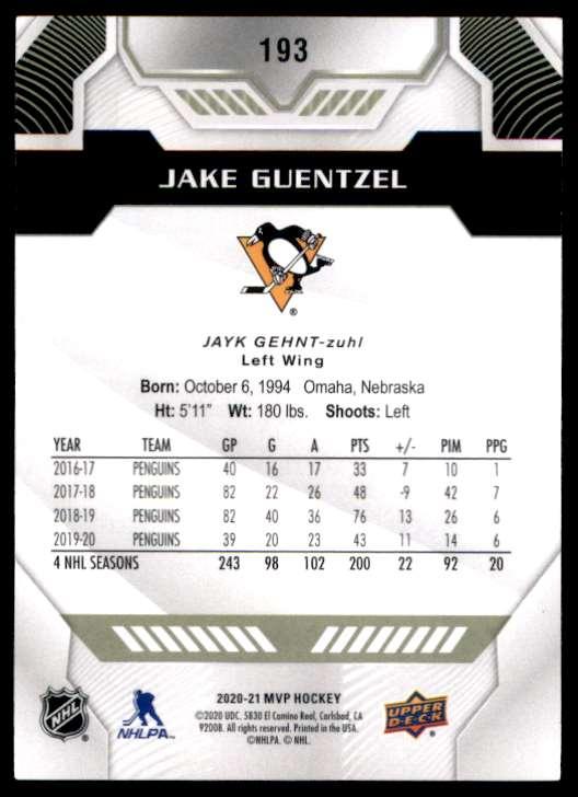 2020-21 Upper Deck MVP Jake Guentzel #193 card back image