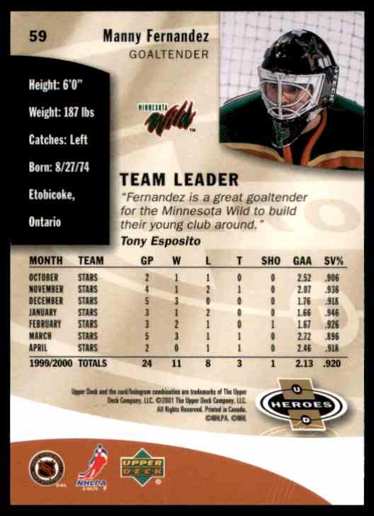 2000-01 Upper Deck Heroes Manny Fernandez #59 card back image