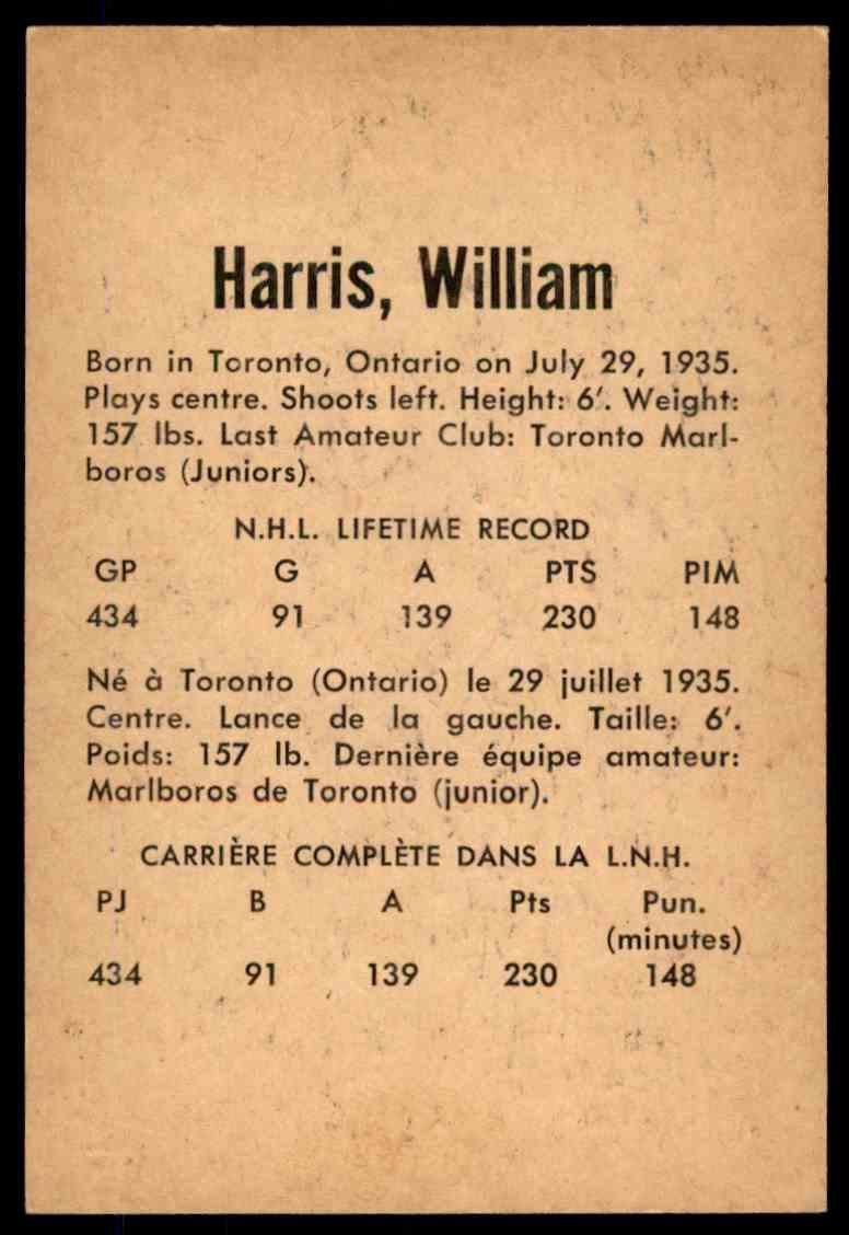 1962-63 Parkhurst Billy Harris #1 card back image