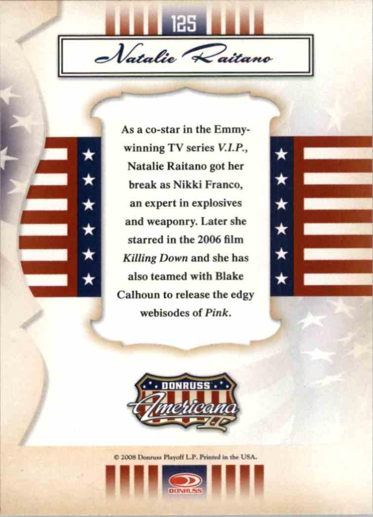 2008 Donruss Americana Natalie Raitano #125 card back image