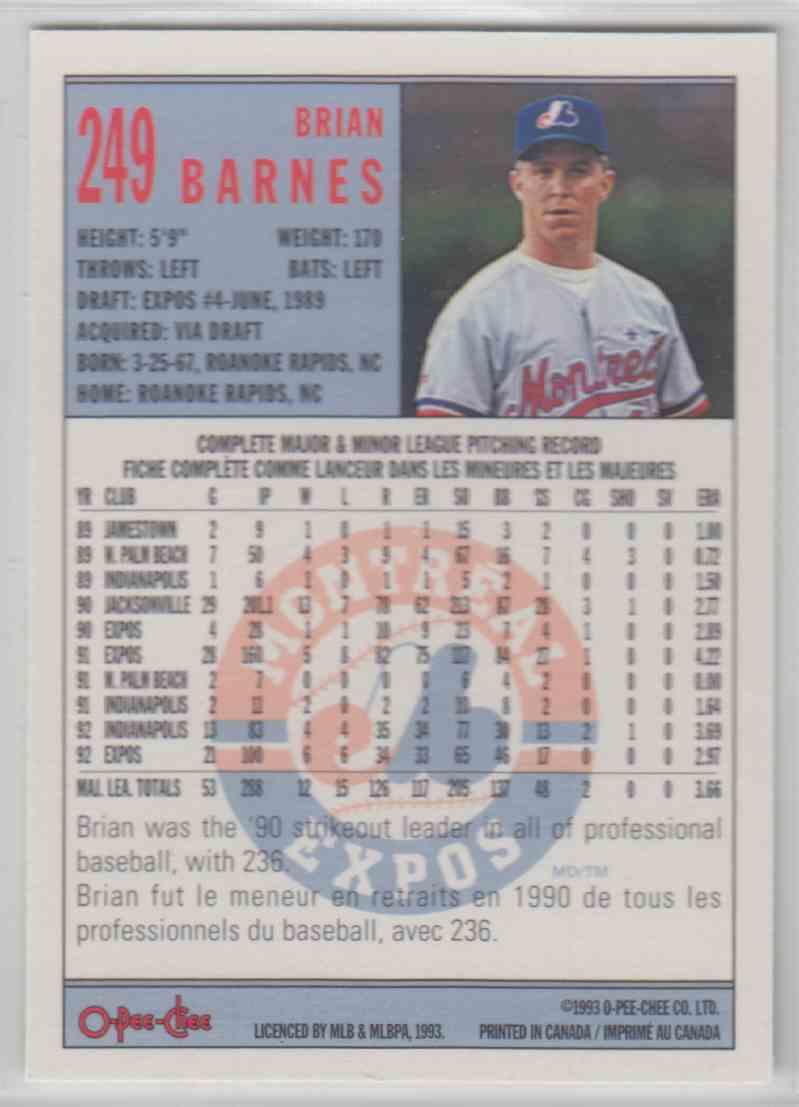 1993 O-Pee-Chee Brian Barnes #249 card back image
