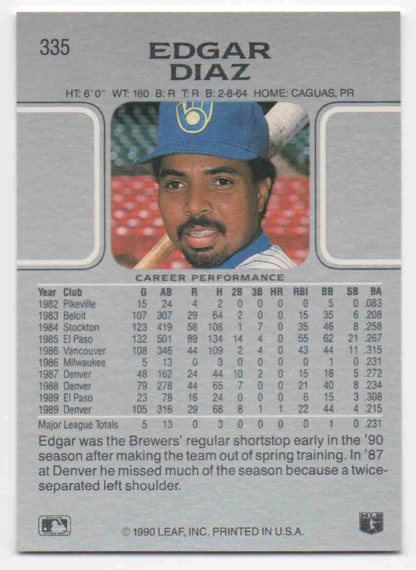 1990 Leaf Edgar Diaz #335 card back image