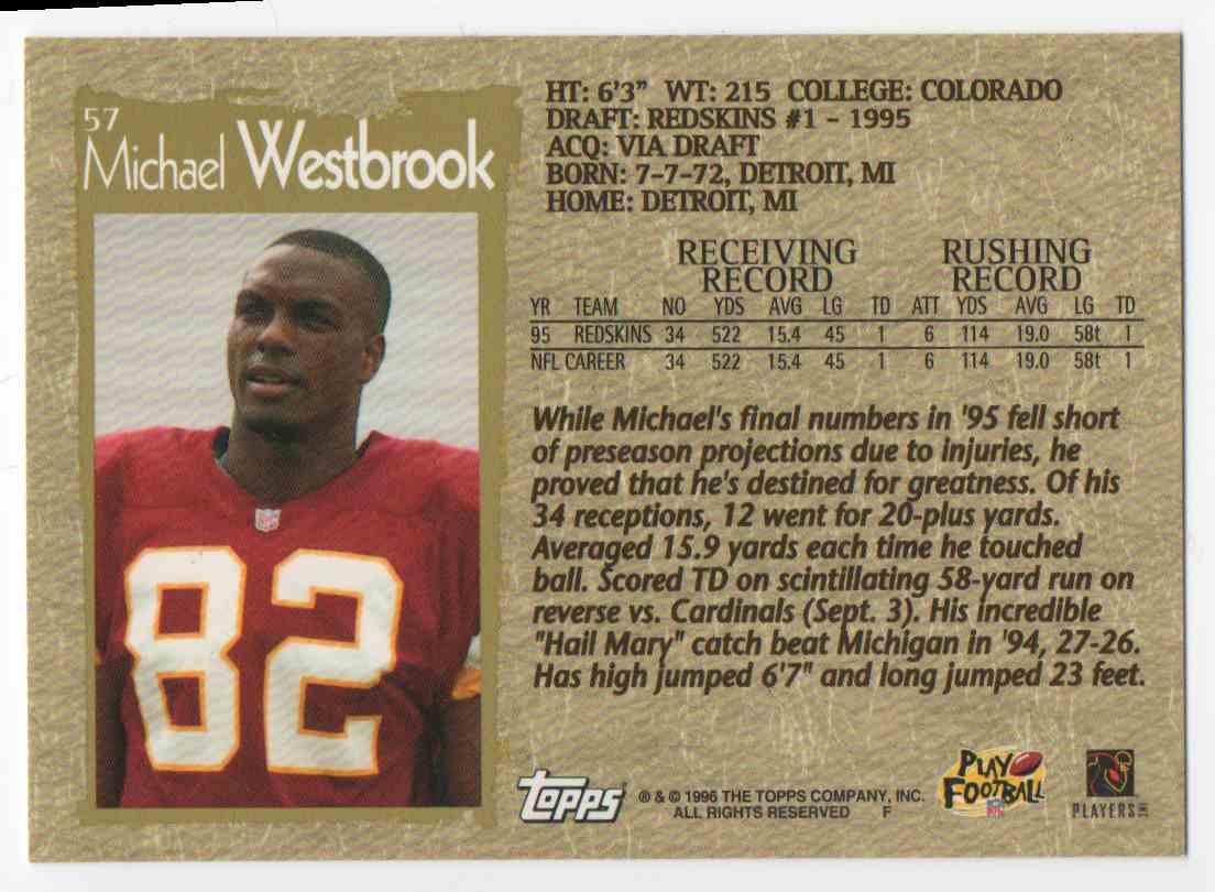 1996 Topps Michael Westbrook #57 card back image