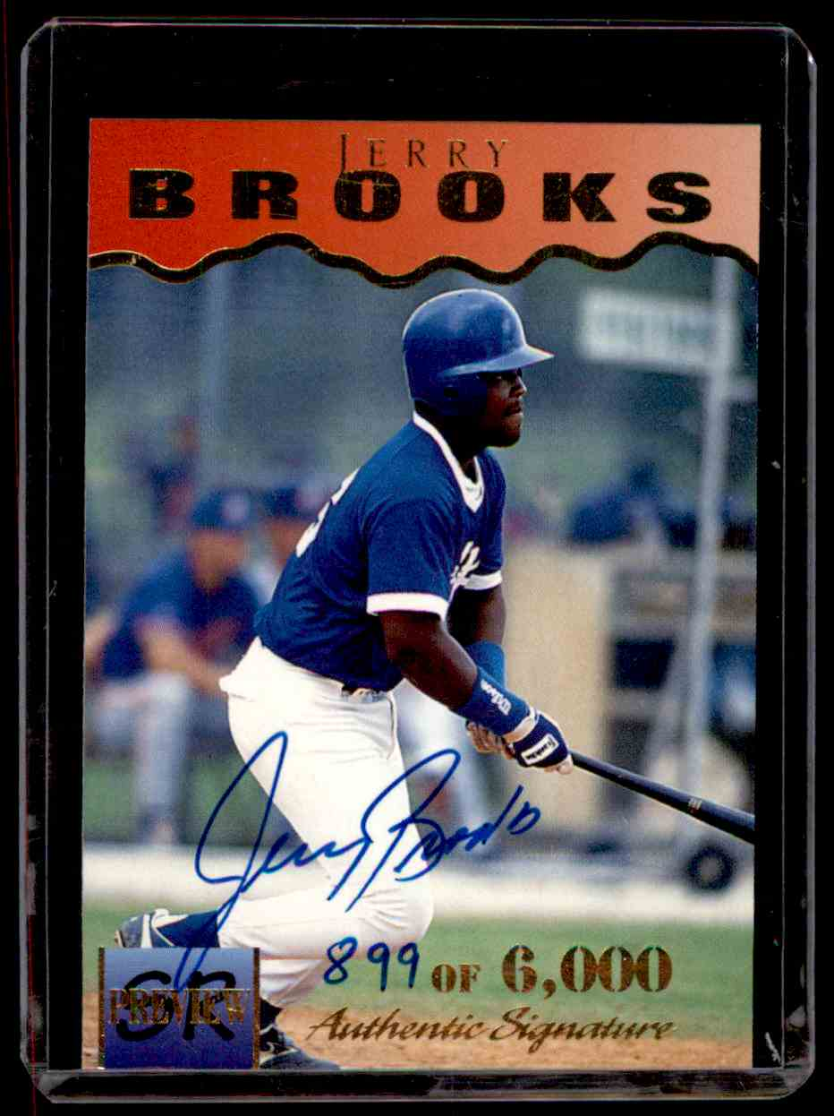 1995 Signature Rookies Previews Signatures Jerry Brooks #4 card front image