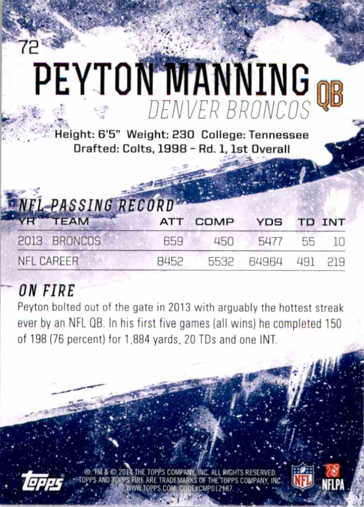 2014 Topps Fire Flame Peyton Manning #72 card back image