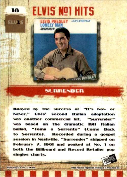 2007 Elvis The Music Surrender #18 card back image