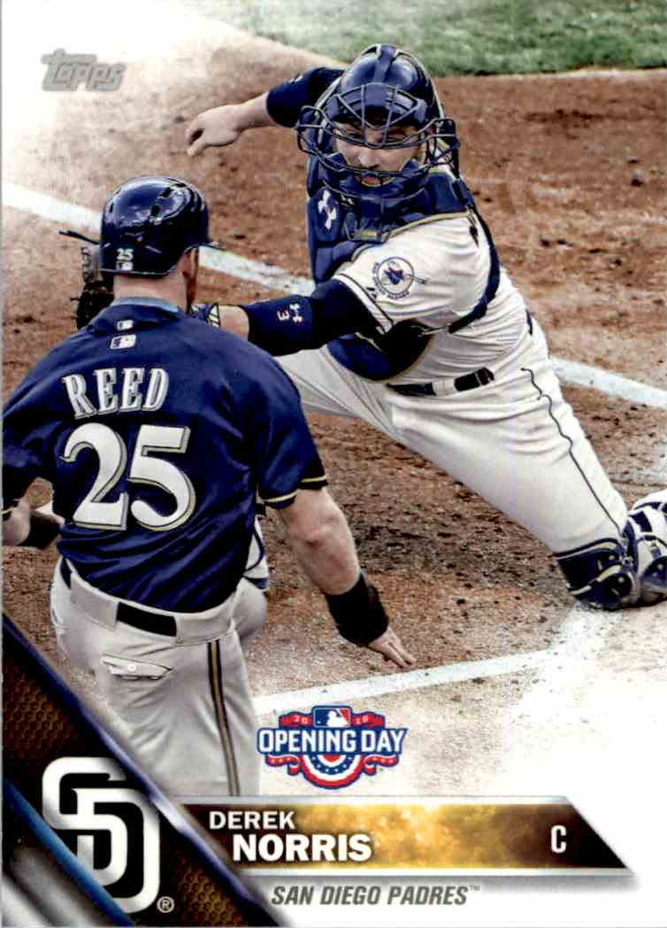 2016 Topps Opening Day Derek Norris #OD-4 card front image