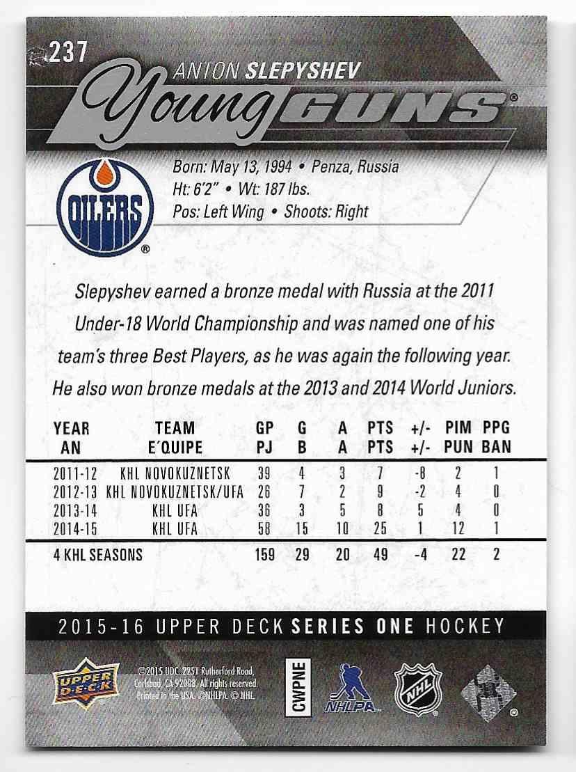 2015-16 Upper Deck Anton Slepyshev #237 card back image