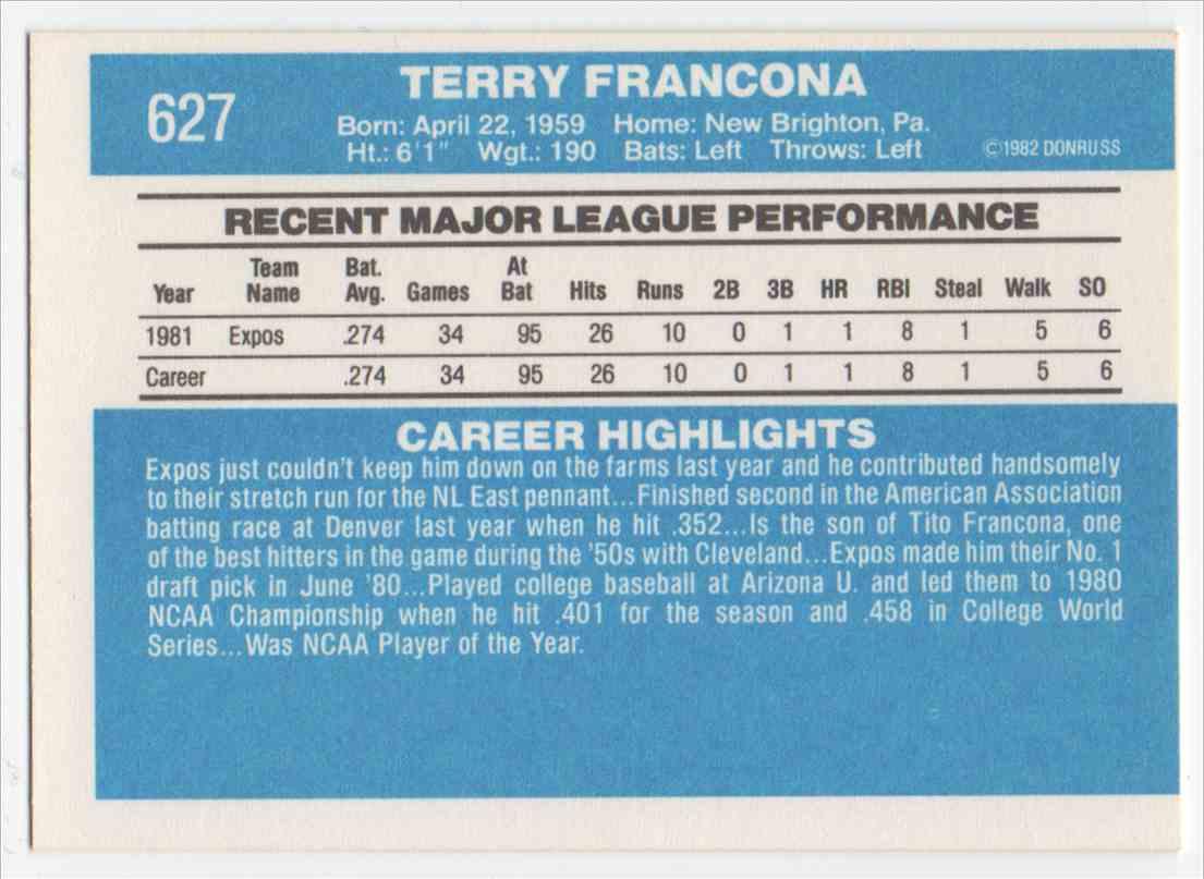 1982 Donruss Terry Francona #627 card back image