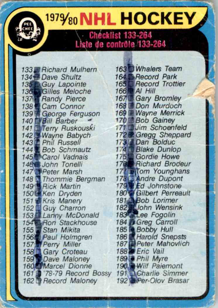 1979-80 O-Pee-Chee Checklist #237 card front image
