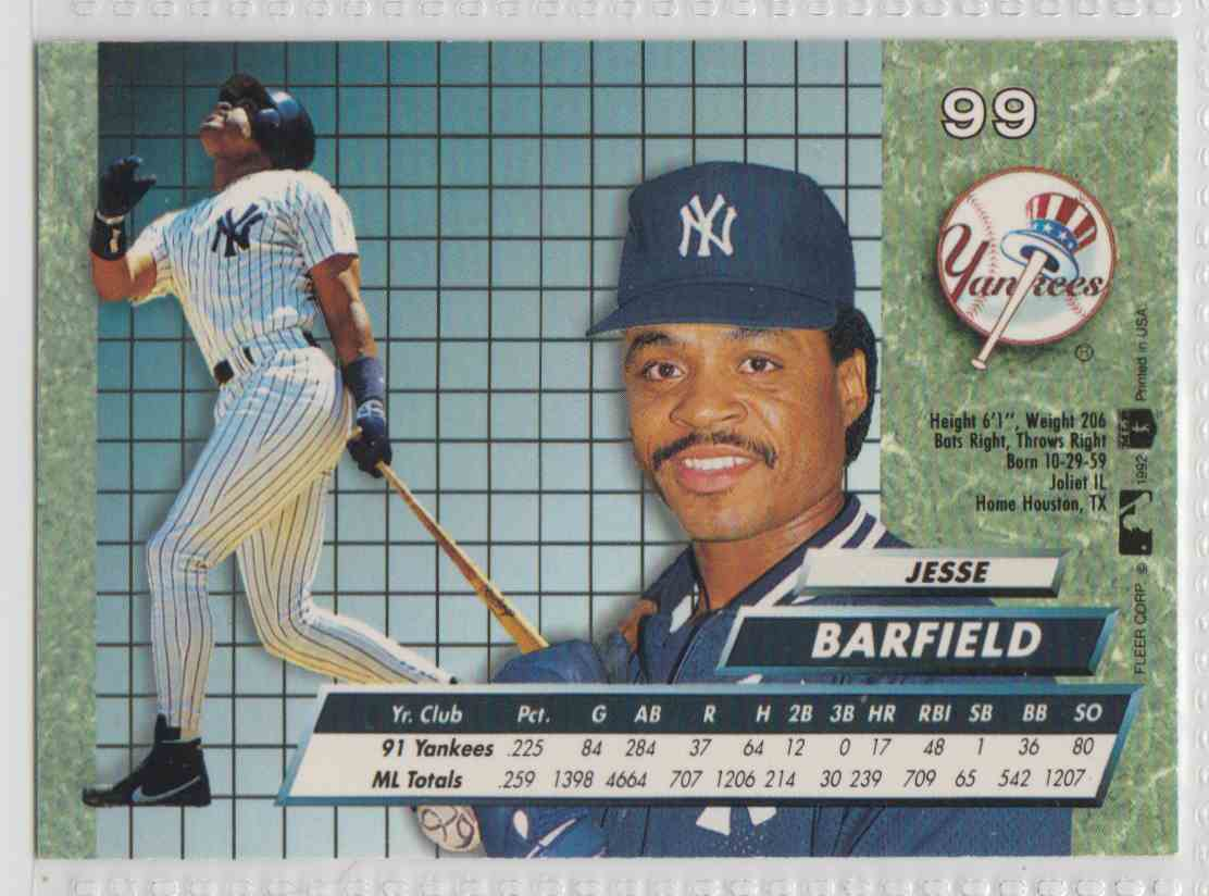 1992 Fleer Ultra Jesse Barfield #99 card back image