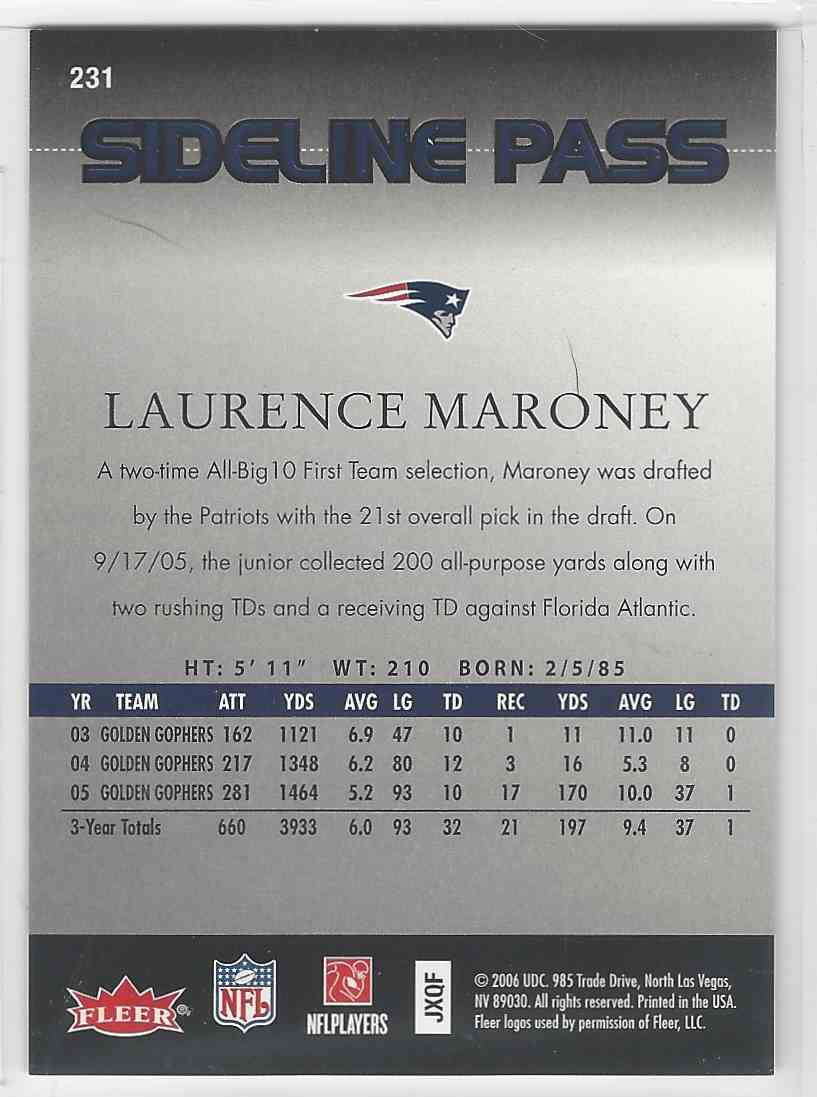 2006 Flair Showcase Sideline Pass Laurence Maroney #231 card back image