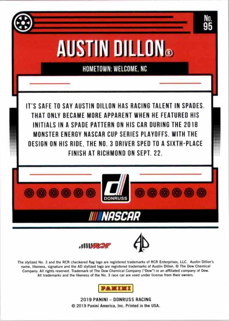 2019 Donruss Silver Austin Dillon #95 card back image