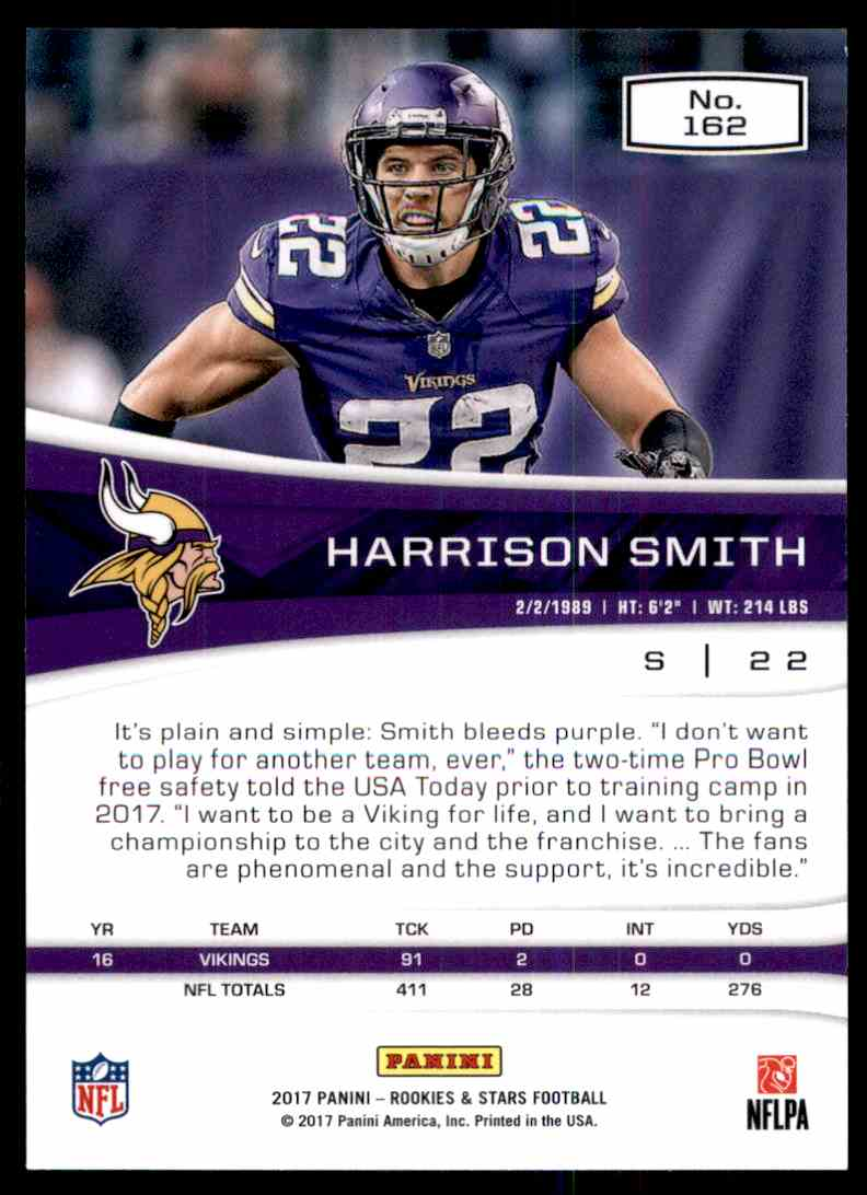 2017 Rookies And Stars Harrison Smith #162 card back image
