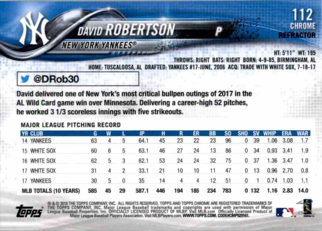 2018 Topps Chrome Refractors David Robertson #112 card back image