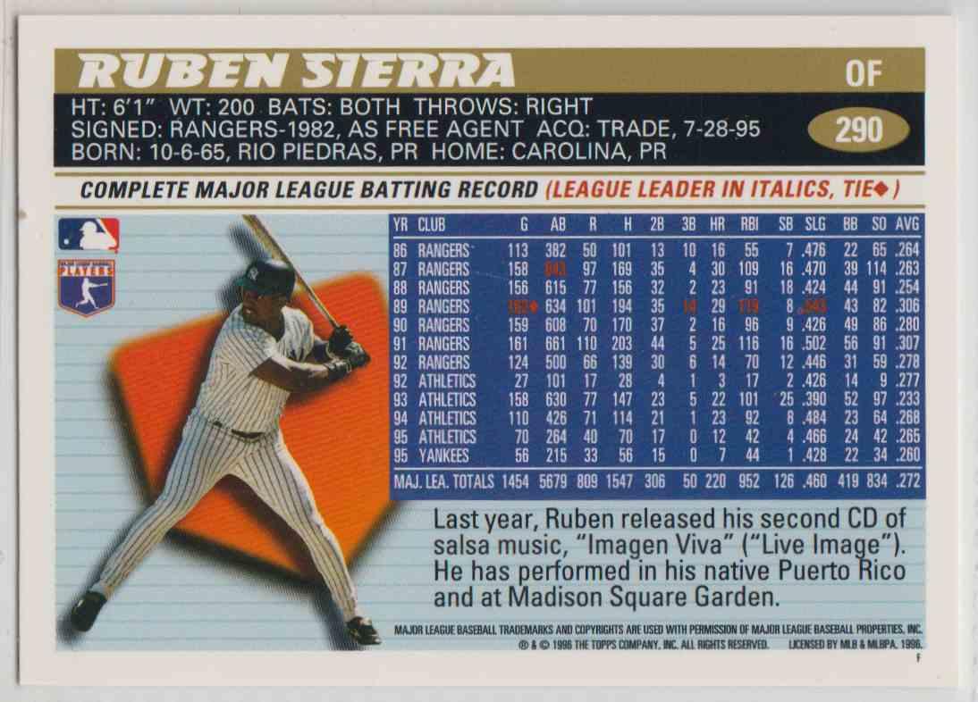 1996 Topps Ruben Sierra #290 card back image