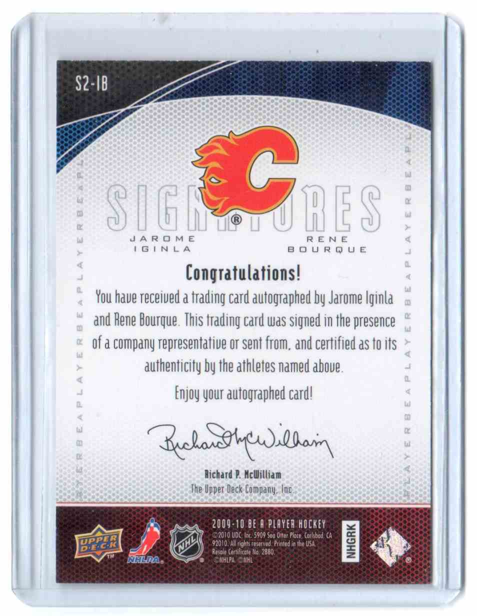 2009-10 Be A Player Signatures Duals Jarome Iginla, Rene Bourque #S2-IB card back image
