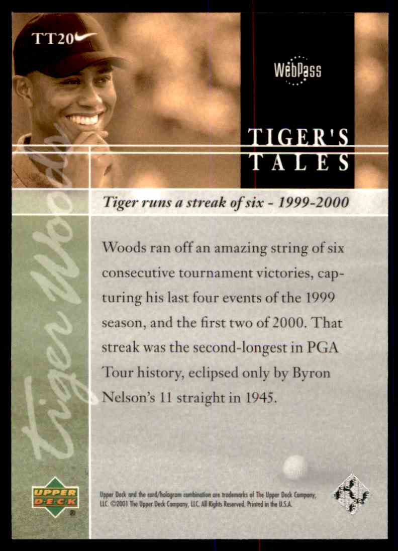 2001 Upper Deck Tiger's Tales Tiger Woods #TT20 card back image