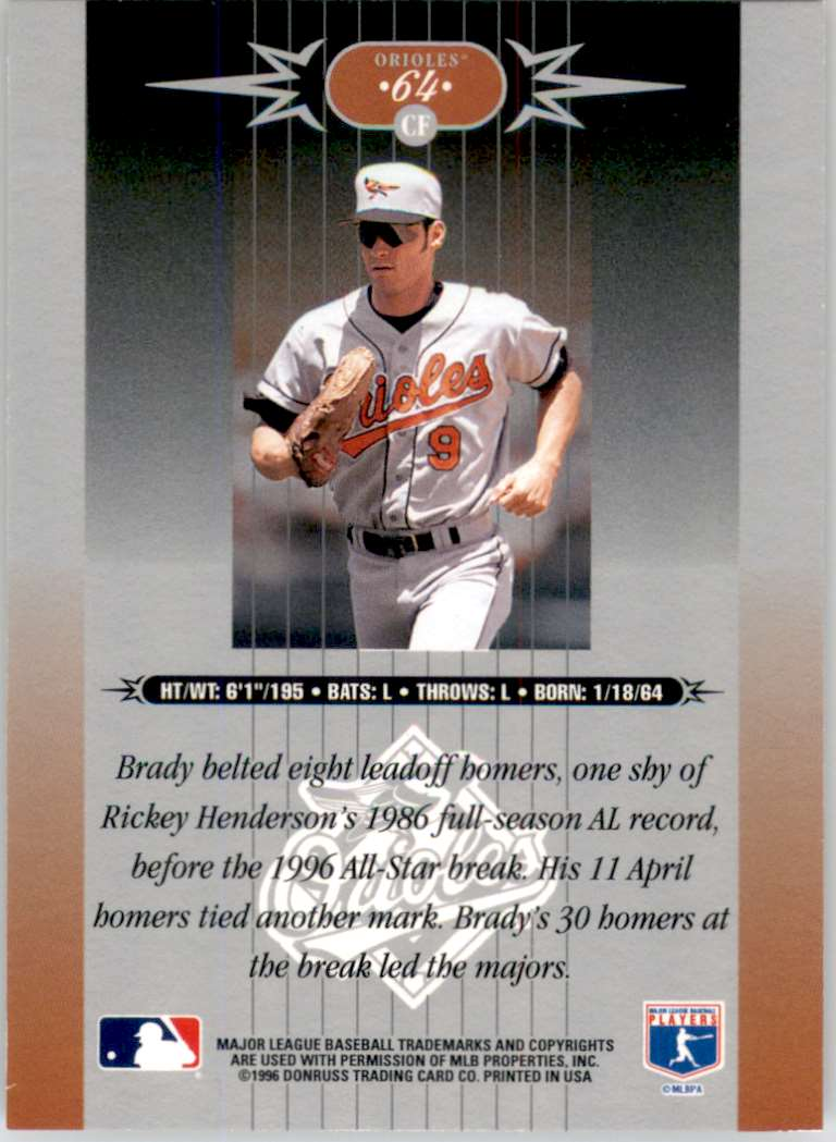 1996 Leaf Limited Brady Anderson #64 card back image