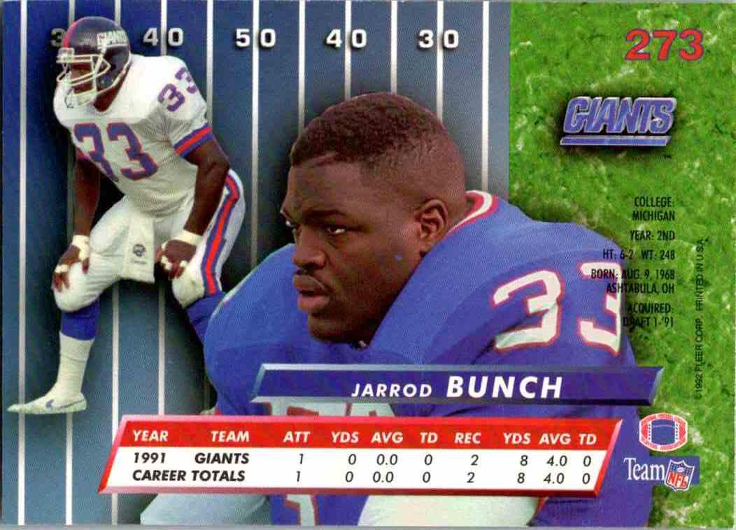 1992 Fleer Ultra Jarrod Bunch #273 card back image