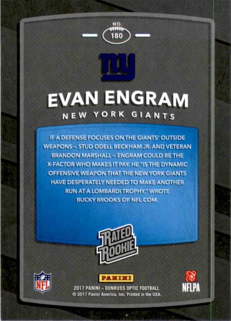 2017 Donruss Optic Evan Engram Rr RC #180 card back image