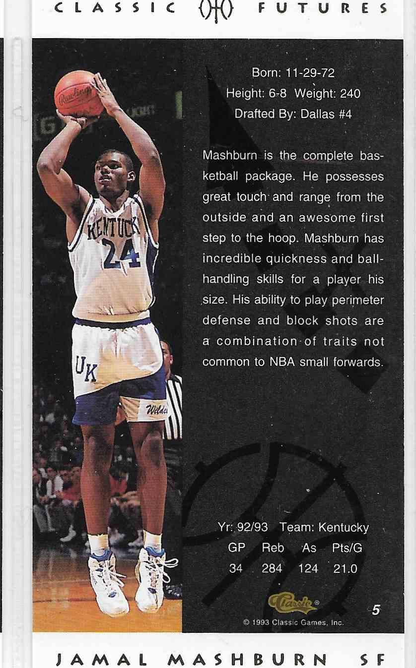 1993-94 Classic Futures Jamal Mashburn #5 card back image