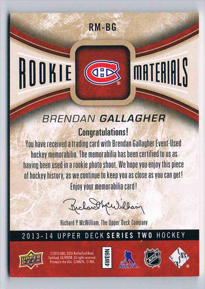 2013-14 Upper Deck UD Rookie Materials Patches Brendan Gallagher #RM-BG card back image
