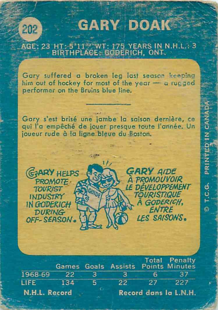 1969-70 Topps Gary Doak #202 card back image