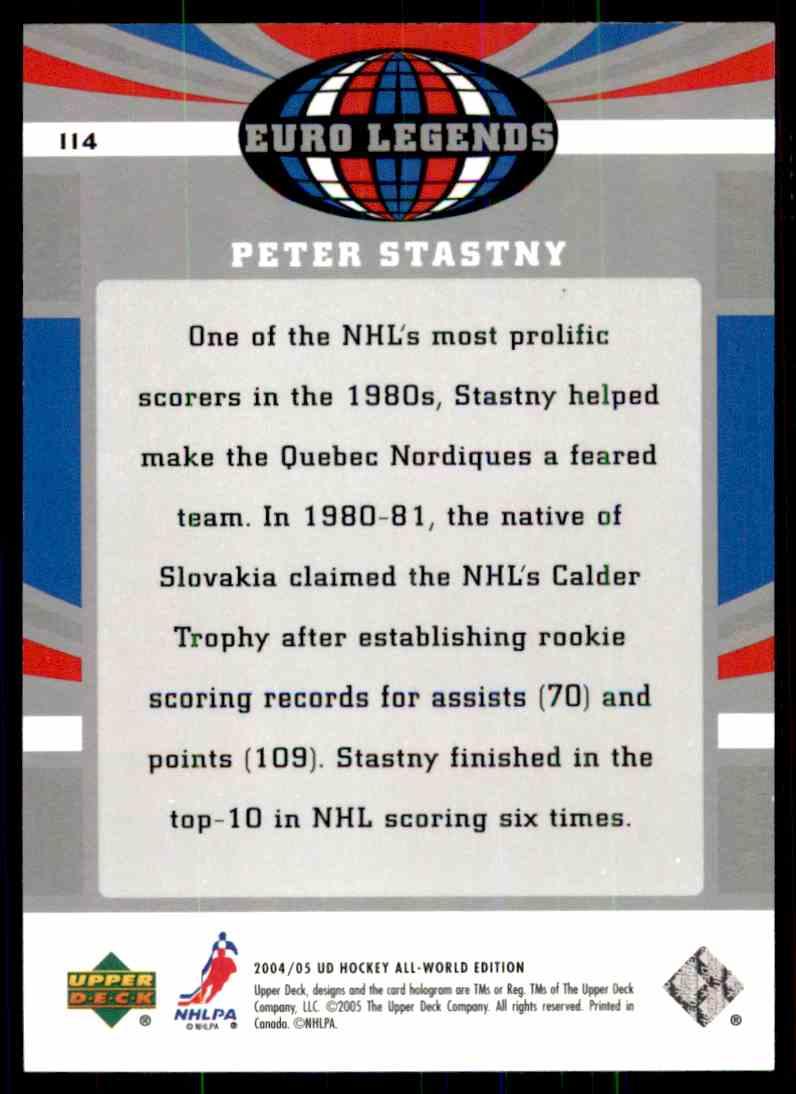 2004-05 Upper Deck All World Peter Stastny #114 card back image