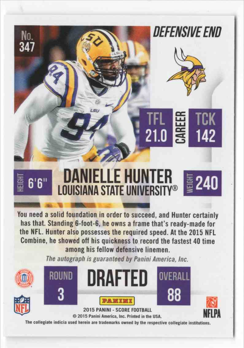 2015 Score Rookie Autographs Danielle Hunter #347 card back image