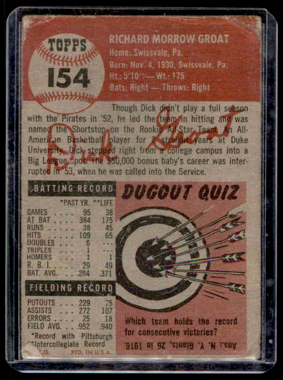 1953 Topps Dick Groat #154 card back image