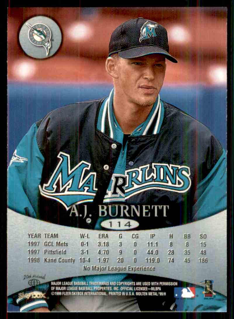 1999 Skybox Molten Metal Heavy Metal A.J. Burnett #114 card back image