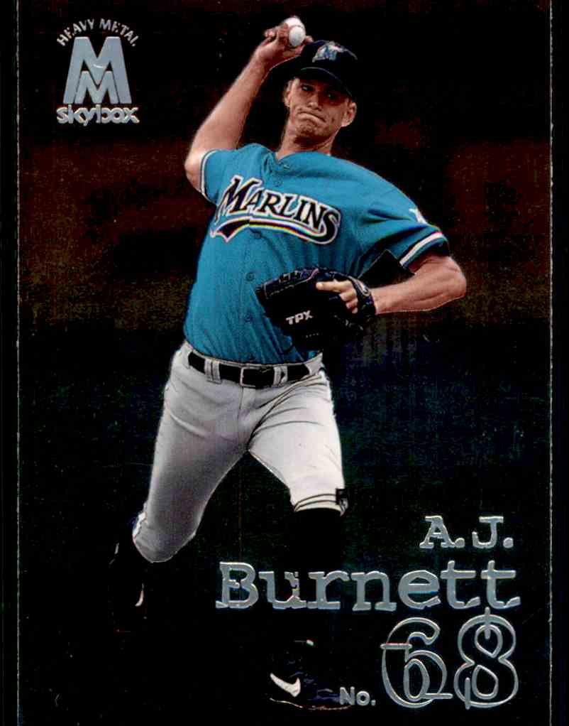 1999 Skybox Molten Metal Heavy Metal A.J. Burnett #114 card front image