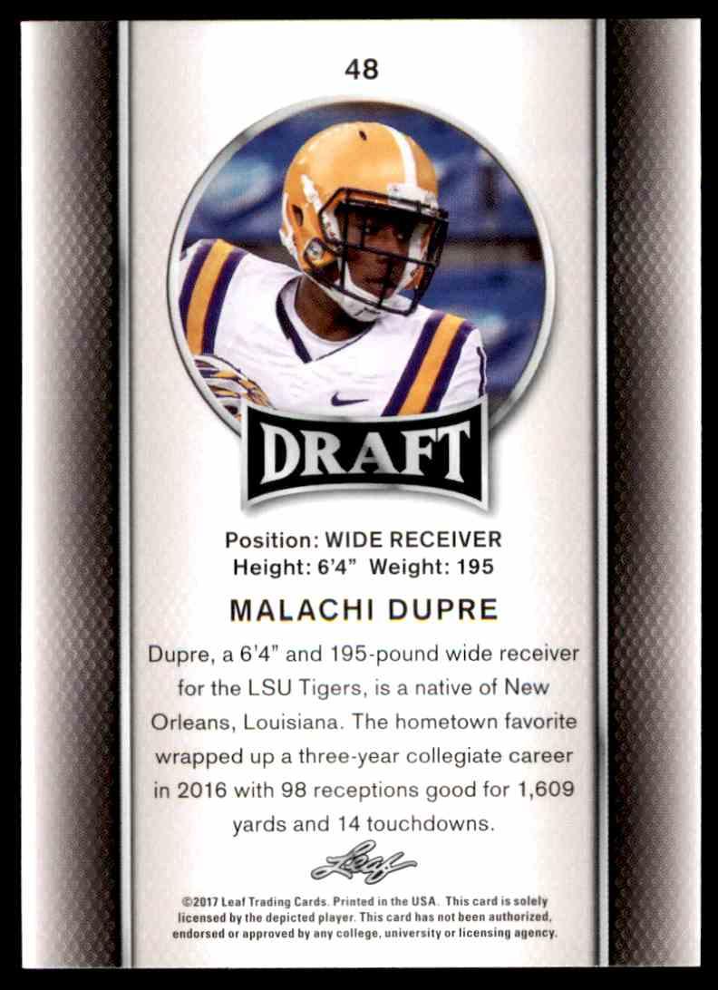 2017 Leaf Draft Malachi Dupre #48 card back image