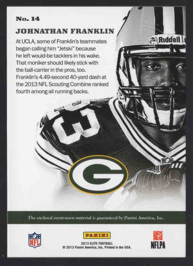 2013 Elite Instant Impact Jerseys Johnathan Franklin #14 card back image