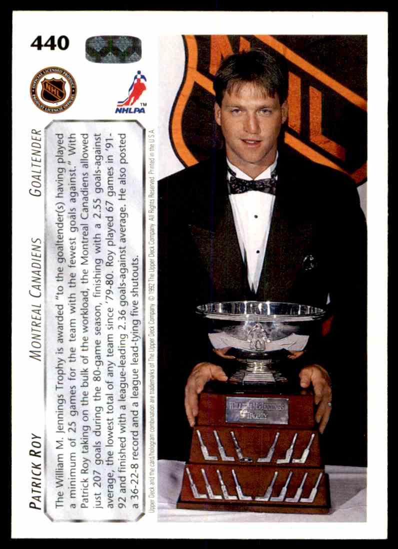 1992-93 Upper Deck Patrick Roy (Jennings Trophy) #440 card back image