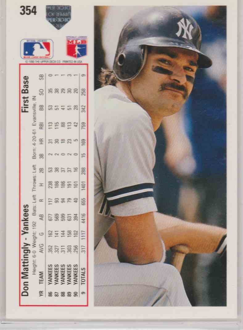 New York And Company Credit Card Payment >> 1991 Upper Deck Base Don Mattingly #354 on Kronozio