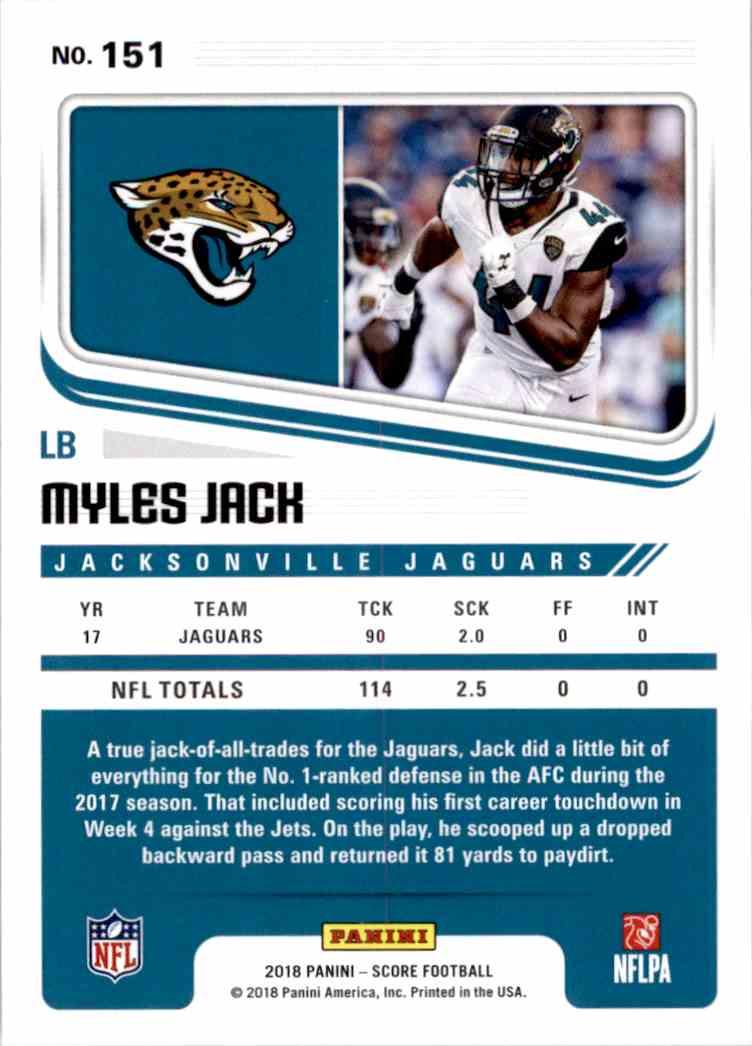 2018 Panini Score Myles Jack #151 card back image