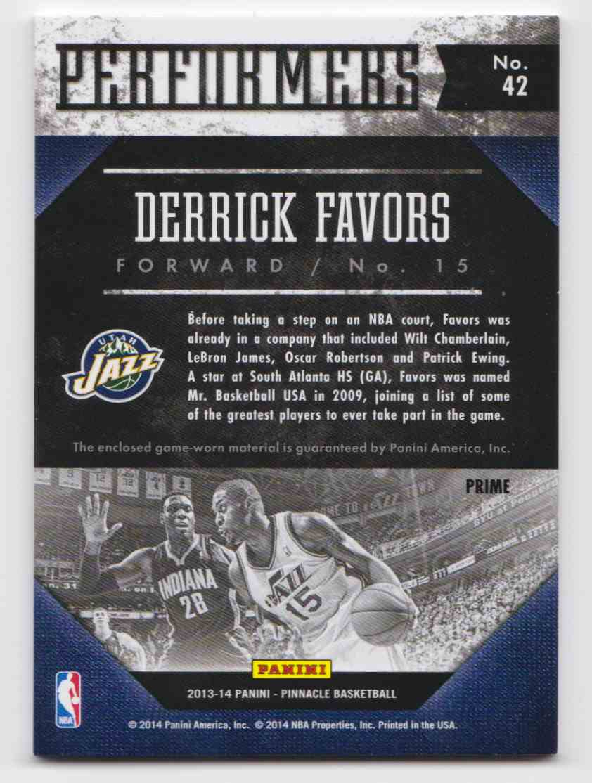 2013-14 Panini Pinnacle Performers Jerseys Prime Derrick Favors #42 card back image