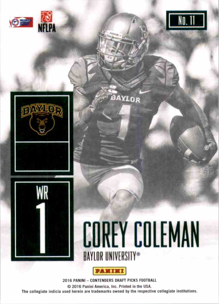2016 Panini Contenders Draft Picks Game Day Tickets Corey Coleman #11 card back image